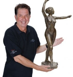 "Yank Barry, wearing a Global Village Champions Foundation shirt, offering for sale what purported to be genuine cast of ""The Little Dancer, Age Fourteen"" by Degas. Yank said this sculpture was worth no less than $15.33 million, but he paid around $1,500 for the sculpture"